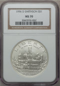 Modern Issues: , 1996-D $1 Smithsonian Silver Dollar MS70 NGC. NGC Census: (407).PCGS Population (308). Mintage: 31,320. Numismedia Wsl. Pr...