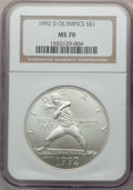 Modern Issues, 1992-D $1 Olympic Silver Dollar MS70 NGC. NGC Census: (0). PCGSPopulation (105). Mintage: 187,552. Numismedia Wsl. Price f...