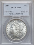 Morgan Dollars: , 1896 $1 MS64 PCGS. PCGS Population (12622/4336). NGC Census:(15621/4940). Mintage: 9,976,762. Numismedia Wsl. Price for pr...