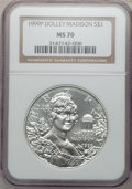 Modern Issues: , 1999-P $1 Dolley Madison Silver Dollar MS70 NGC. NGC Census: (898).PCGS Population (382). Numismedia Wsl. Price for probl...