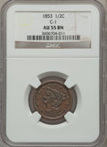 Half Cents, 1853 1/2 C AU55 Brown NGC. C-1. NGC Census: (26/742). PCGSPopulation (90/494). Mintage: 129,694. Numismedia Wsl. Price fo...