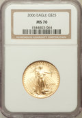 Modern Bullion Coins, 2006 G$25 Half-Ounce Gold Eagle MS70 NGC. NGC Census: (6333). PCGSPopulation (108). ...