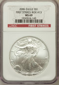 Modern Bullion Coins, 2006 $1 Silver Eagle First Strike MS69 NGC. Box #13. NGC Census:(116729/3856). PCGS Population (7322/502). Numismedia...