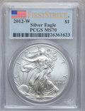 Modern Bullion Coins, 2012-W $1 Silver Eagle, First Strike MS70 PCGS. PCGS Population(2642). NGC Census: (8282). ...