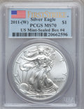 Modern Bullion Coins, 2011-(W) $1 One-Ounce Silver Eagle, First Strike MS70 PCGS. Ex:U.S. Mint-Sealed Box #4. PCGS Population (2687). NGC Census...