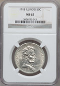 Commemorative Silver, 1918 50C Illinois MS62 NGC. NGC Census: (181/3782). PCGS Population(399/5377). Mintage: 100,058....