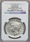 Peace Dollars, 1921 $1 -- Improperly Cleaned -- NGC Details. AU. High Relief. NGCCensus: (179/11236). PCGS Population (323/13002). M...