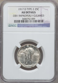 Standing Liberty Quarters, 1917-D 25C Type Two -- Obverse Improperly Cleaned -- NGC Details.AU. NGC Census: (10/428). PCGS Population (37/634). M...