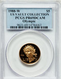 Modern Issues: , 1988-W G$5 Olympic Gold Five Dollar PR69 Deep Cameo PCGS. Ex: USVault Collection. PCGS Population (8551/437). NGC Census: ...