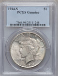 Peace Dollars, 1924-S $1 -- Altered Surfaces -- PCGS Genuine. Mintage:1,728,000....