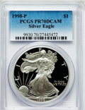 Modern Bullion Coins: , 1998-P $1 Silver Eagle PR70 Deep Cameo PCGS. PCGS Population(1048). NGC Census: (1043). Numismedia Wsl. Price for problem...