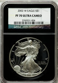 Modern Bullion Coins, 2002-W $1 Silver Eagle PR70 Ultra Cameo NGC. 25th AnniversaryHolder. NGC Census: (3597). PCGS Population (1423). Numismed...