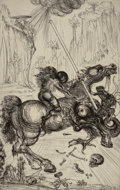 Prints:European Modern, SALVADOR DALÍ (Spanish, 1904-1989). St. George and theDragon, 1947. Etching on J. Whatman wove paper. 22-5/8 x 15-1/4i...