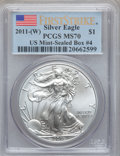 Modern Bullion Coins, 2011-(W) $1 Silver Eagle, First Strike MS70 PCGS. Ex: U.S.Mint-Sealed Box #4. PCGS Population (2687). NGC Census: (0)....