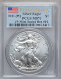 Modern Bullion Coins, 2011-(W) $1 Silver Eagle, First Strike MS70 PCGS. Ex: U.S.Mint-Sealed Box #16. PCGS Population (2687). NGC Census: (0)....