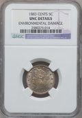 Liberty Nickels, 1883 5C With Cents -- Environmental Damage -- NGC Details. UNC. NGCCensus: (6/777). PCGS Population (10/935). Mintage:...