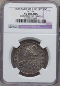 Bust Half Dollars, 1828 50C Square Base 2, Small 8, Large Letters -- ImproperlyCleaned -- NGC Details. AU. O-117A. NGC Census: (15/152). ...