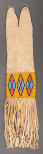 American Indian Art:Beadwork and Quillwork, A CREE BEADED HIDE TOBACCO BAG. c. 1920...