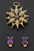 Estate Jewelry:Other , Tanzanite Pearl Brooch & Amethyst Earrings . ...