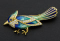 Estate Jewelry:Brooches - Pins, Outstanding Diamond & Enamel Bird Gold Brooch. ...