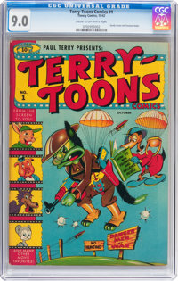 Terry-Toons Comics #1 (Timely, 1942) CGC VF/NM 9.0 Cream to off-white pages