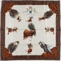 "Luxury Accessories:Accessories, Hermes White & Brown ""Chasse a Vol,"" by Henri de Linares Silk Scarf. ..."