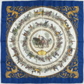 "Luxury Accessories:Accessories, Hermes Blue & White ""La Promenade de Longchamps,"" by Philippe Ledoux Silk Scarf. ..."