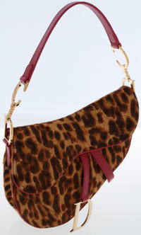 Christian Dior Leopard Ponyhair & Red Leather Saddle Bag