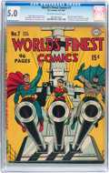 Golden Age (1938-1955):Superhero, World's Finest Comics #7 (DC, 1942) CGC VG/FN 5.0 Off-white to white pages....