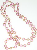 Luxury Accessories:Accessories, Chanel Pink Crystal Bezel-set Baroque Pearl Motif Necklace . ...