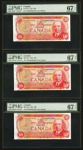 Canadian Currency: , BC-51b $50 1975 Three Consecutive Examples. ... (Total: 3 notes)