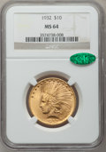 Indian Eagles, 1932 $10 MS64 NGC. CAC....