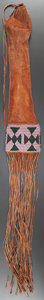 American Indian Art:Beadwork and Quillwork, AN EARLY SIOUX BEADED HIDE TOBACCO BAG. c. 1870...