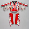 American Indian Art:Beadwork and Quillwork, A BLACKFOOT BEADED CLOTH SHIRT AND LEGGINGS. c. 1890... (Total: 3 )