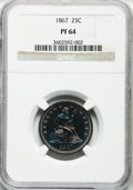 Proof Seated Quarters, 1867 25C PR64 NGC....