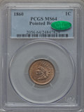 Indian Cents, 1860 1C Pointed Bust MS64 PCGS. CAC. FS-401....