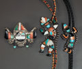 American Indian Art:Jewelry and Silverwork, THREE ZUNI SILVER AND STONE JEWELRY ITEMS. c. 1940... (Total: 3Items)