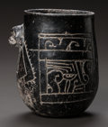 Pre-Columbian:Ceramics, A MAYA BLACKWARE VESSEL WITH INCISED DECORATION. c. 600 - 900 AD...