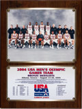 Basketball Collectibles:Others, 2004 LeBron James Olympics Summer Games Presentational Plaque - With Original Letter Sent to LeBron....
