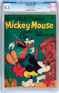 Golden Age (1938-1955):Cartoon Character, Four Color #343 Mickey Mouse - File Copy (Dell, 1951) CGC VF+ 8.5Off-white to white pages....