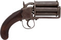 Handguns:Muzzle loading, Unmarked Unique Single Action Percussion Pepperbox Revolver....