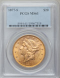 Liberty Double Eagles: , 1877-S $20 MS61 PCGS. PCGS Population (440/297). NGC Census:(670/172). Mintage: 1,735,000. Numismedia Wsl. Price for probl...