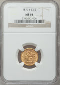 Liberty Quarter Eagles: , 1877-S $2 1/2 MS61 NGC. NGC Census: (83/75). PCGS Population(20/66). Mintage: 35,400. Numismedia Wsl. Price for problem fr...