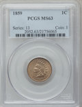 Indian Cents: , 1859 1C MS63 PCGS. PCGS Population (513/760). NGC Census: (3/8).Mintage: 36,400,000. Numismedia Wsl. Price for problem fre...