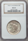 Commemorative Silver: , 1925-S 50C California MS65 NGC. NGC Census: (912/566). PCGSPopulation (741/410). Mintage: 86,394. Numismedia Wsl. Price fo...