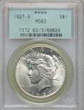 Peace Dollars: , 1927-S $1 MS63 PCGS. PCGS Population (1810/1415). NGC Census:(976/1135). Mintage: 866,000. Numismedia Wsl. Price for probl...