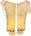 American Indian Art:Beadwork and Quillwork, A PAIR OF UTE BEADED HIDE LEGGINGS. c. 1880...