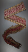 American Indian Art:Beadwork and Quillwork, A WESTERN GREAT LAKES FINGER-WOVEN SASH. c. 1850...
