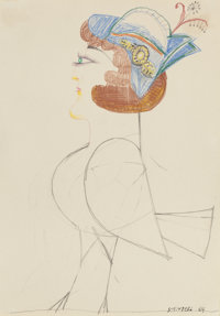 SAUL STEINBERG (Romanian, 1914-1999) Lady Bird, 1964 Pencil and colored pencil 12 x 8 inches (30