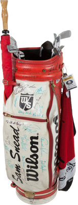 1960's-70's Sam Snead Tournament Used Bag Signed by Masters Champions with Set of Clubs